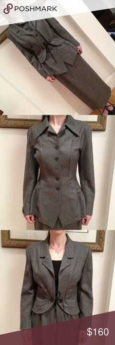 HOST PICK NWOT. Unusual 3 piece  FINAL Closet Clear Out 2016!Made on France of 100% wool, these 3 dark grey suit pieces are versatile and can be worn in several combinations:  Layered all together, jacket & top alone with the skirt, or on their own with other items from your closet!   A great investment for your wardrobe! Shirt is missing middle button but I have it in the pocket of the jacket!  Simple fix for someone!  Never worn. Skirt still has tag but tags have been removed from top…