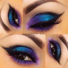 Blue and Purple Peacock Eyeshadow Black cut crease winged out eyeliner