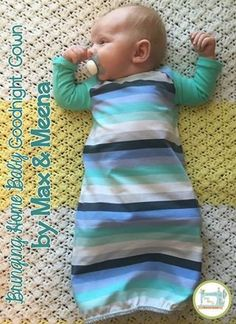 """Goodnight Gown """"Bringing Home Baby"""" Series PDF – max & meena Patterns Baby Nightgown, Nightgown Pattern, Baby Gown, Sewing Projects For Kids, Sewing For Kids, Baby Sewing, Sewing Ideas, Sewing Tips, Sew Baby"""