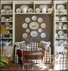 collection of transfer ware in a gingham room