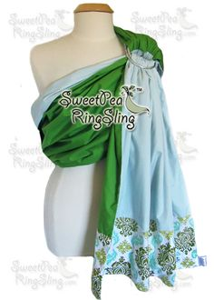 """My New Artisan SweetPea Ring Sling """"Georgia""""!  Grass Green and Ice Blue with a Joel Dewberry Damask tail http://www.sweetpearingsling.com/georgia.htm"""