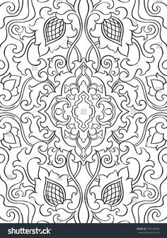 Vector Floral Pattern Filigree Ornament Black And White Template For Wallpaper Textile FiligreeMachine EmbroideryColoring