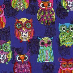 Timeless Treasures House Designer - Funky Owls - Funky Owls in Purple
