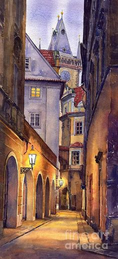 Prague Old Street  Painting  - Prague Old Street  Fine Art Print