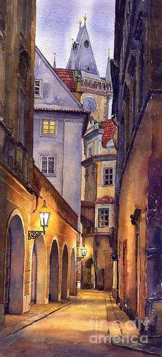 Prague Old Street  Painting by Yuriy  Shevchuk