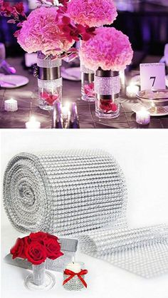 Rhinestone Ribbon for Wedding Decorations | Easy Wedding Decorations Dollar Stores | Elegant Wedding Decor Ideas on a Budget