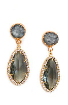 Grey druzy earrings