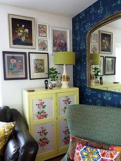 Dishfunctional Designs: Create An Eclectic Gallery Wall! - love color and pattern mix...tons of different ideas