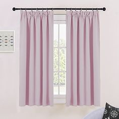 PONY DANCE Bedroom Blackout Curtains - 54 Drop Short Kitchen Curtain for Bedroom Set Pencil Pleat Thermal Window Treatments Drapery Panels Light Blocking, 2 Pieces, W 46 inch by D 54 inch, Mocha Kids Curtains, Pencil Pleat, Small Windows, Room Darkening, Drapery, Girls Bedroom, Nursery, Pink, Home Decor