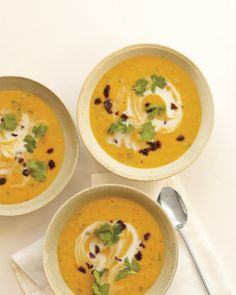 Curried Red-Lentil Soup with Dried Cherries and Cilantro | Whole Living