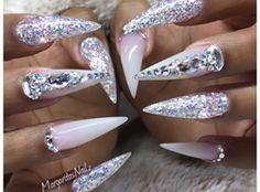 Pink And White Chrome Stiletto Nails by MargaritasNailz