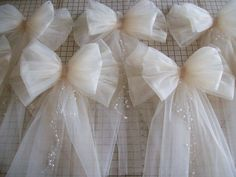 White Tulle Pew Bow Ivory Pew Bow Tulle Church Pew by OneFunDay