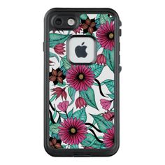 Girly Pink and Teal Watercolor Floral Illustration LifeProof FRĒ iPhone 7 Case - flowers floral flower design unique style