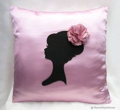 Romantic Cameo Sweet Pink And Black Pillow by RaineStyleHome