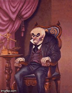 ericstoons:  The Burning Miser, unused Changing Portrait concept by Marc Davis for the Haunted Mansion, painted by Ed Kohn.