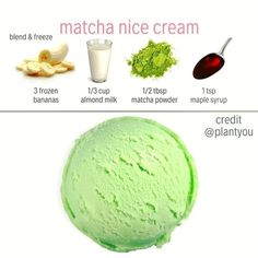 We love matcha! Matcha nice cream that is! Enjoy this simple and healthy matcha ice cream for you dessert! Vegan Sweets, Healthy Sweets, Healthy Snacks, Vegan Snacks On The Go, Healthy Ice Cream, Vegan Ice Cream, Matcha Ice Cream, Banana Ice Cream, Vegan Foods