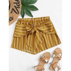 Stagioni Fashion for Women, Shorts for Women. Item: Knot Front Striped Shorts for Women Cute Pants, Cute Shorts, Striped Shorts, Trendy Outfits, Summer Outfits, Cute Outfits, Fashion Outfits, Diy Shorts, Kurta Designs