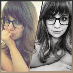 Choppy bangs, medium/long hair length, thick hair, ash blonde, square glasses