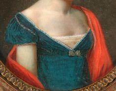 Pretty brooch where the neckline and waist meet. Jean-Alexandre Maricot, Portrait of a young lady (detail), 1812