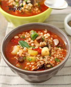 Soupe aux tomates, aux champignons et à l'orge #recette