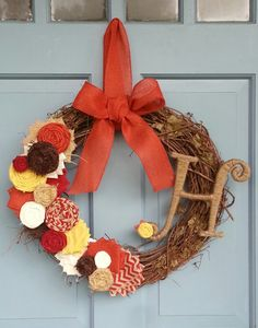 NEW  Autumn Grapevine Wreath with Initial