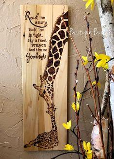 Giraffe/Giraffe Nursery/Baby Giraffe/Giraffe Mom & Baby/Giraffe Wall Decor/Safari Room Decor/Wood Sign/Rustic Decor/Baby Shower/Giraffe Art by BoutiqueBarn on Etsy #BabyShower