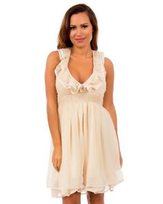 Haute 18 Ruffle Collar Halter Top Dress on hotgirlsclothes.com
