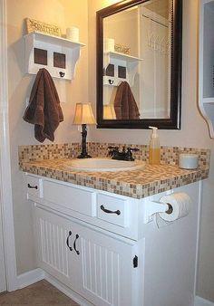Tile Bathroom Countertop Ideas install tile over laminate countertop and backsplash | electric