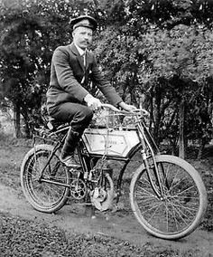 Motorcycle Bicycle Postal Mailman B&W Poster.Home Art Decoration Antique Motorcycles, Indian Motorcycles, Small Motorcycles, Powered Bicycle, Automobile, Bicycle Safety, Motorised Bike, Transport Museum, Motorized Bicycle