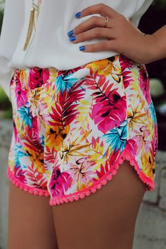 Tropical Leaf Print Neon Shorts | UOIonline.com: Women's Clothing Boutique