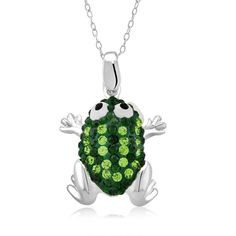 This charming necklace features a beautiful frog pendang studded in dazzling green and silver crystals. This jewelry hangs from a platinum-plated cable chain with a spring ring clasp.