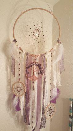 Reservados para Bretaña *** precio especial Dicounted *** árbol de la vida Triple sueño Catcher del colgante de pared/amatista/blanco/púrpura/Swarovski perlas