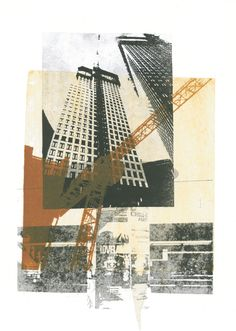 Building crane combined with modern high architecture, The Hague city nr - collage art print - monotype technique by Hilly van Eerten, 2012 Architecture Artists, Architecture Collage, Architecture Drawings, City Collage, Collage Art, Art Alevel, Graphic Art Prints, Building Art, A Level Art