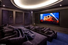 UK's most expensive new build property on the market for Blockbuster: Film buffs won't need to travel to the local multiplex if they want to catch the latest releases as they can watch in style from the comfort of this cinema room Home Theater Room Design, Movie Theater Rooms, Home Theater Decor, Movie Rooms, Cinema Room Small, Home Cinema Room, Small Movie Room, Cinema Wallpaper, Inspiration Design