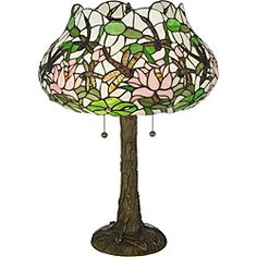 @Overstock - This whimsical table lamp features dragonfly designs on both the inverted stained glass shade and the hand-finished mahogany bronze base. The earthy colors of this table lamp are sure to compliment any room.  http://www.overstock.com/Home-Garden/Dragonfly-Flower-Table-Lamp/6393631/product.html?CID=214117 $283.99