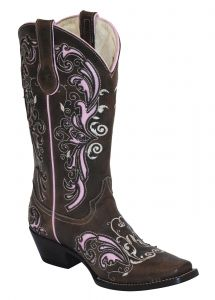 Ferrini Brown/Pink Laser Cowgirl Boots