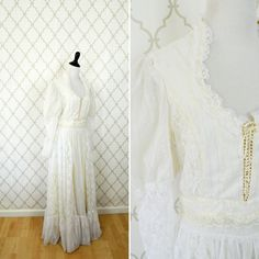 Vintage 1970's White Lace Prairie Wedding dress by PonsonbyVintage