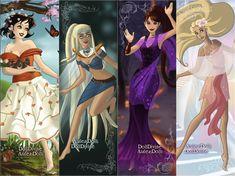 The four Disney elements v.2 (Snow White-earth, Kida-water, Megara-fire, Rapunzel-air)