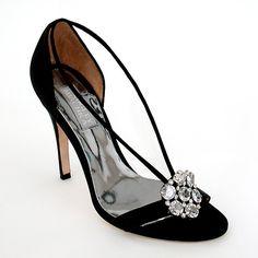 Badgley Mischka Evening Shoes | Cody Evening Sandals, Black, Crystal