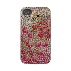 Girly Pink Diamond Peacock Tough Iphone 4 Covers