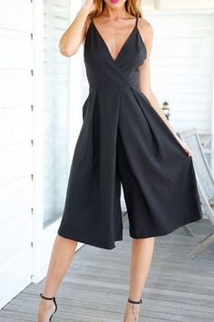 Black Cross Front V-neck Backless Jumpsuit With Shoulder Straps