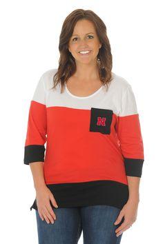 Plus Size Nebraska Huskers Colorblock Top