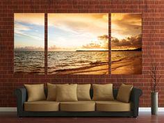 Sunset canvas digital print ready to hang on wall, 3 panels canvas digital print