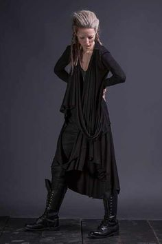 Modern everyday wearable goth style. Black layers.