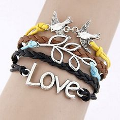 nice Unisex Women Men Infinity Love Bird Cute Charm Bracelet plated Silver Jewelry - For Sale View more at http://shipperscentral.com/wp/product/unisex-women-men-infinity-love-bird-cute-charm-bracelet-plated-silver-jewelry-for-sale/