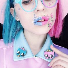 "Pin cats @laserbshop   Lipstick @limecrime.russia ""Teacup""  ➕ ""Flamingo"""