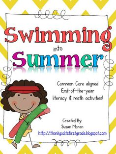 Swimming into Summer! End of the year literacy and math activities for the end of first grade!