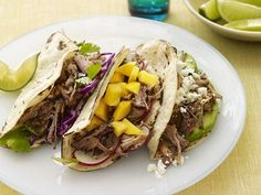 Slow-Cooker Pork Tacos Recipe from Food Network--Great flavor; some prep involved before going in slow cooker Crock Pot Recipes, Pork Recipes, Slow Cooker Recipes, Mexican Food Recipes, Cooking Recipes, Healthy Recipes, Healthy Food, Healthy Tacos, Healthy Dinners