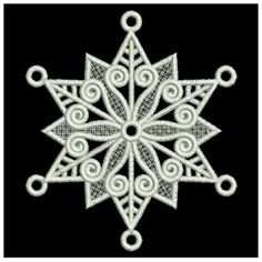 Wind Bell Embroidery Embroidery Design: FSL Snowflake Ornament 3.40 inches H x 3.87 inches W