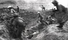 Viet Minh soldiers recreate their assault on the French airfield during the battle of Dien Bien Phu in northern Indochina (now Vietnam) on 14 April 1954 AFP/Getty Images